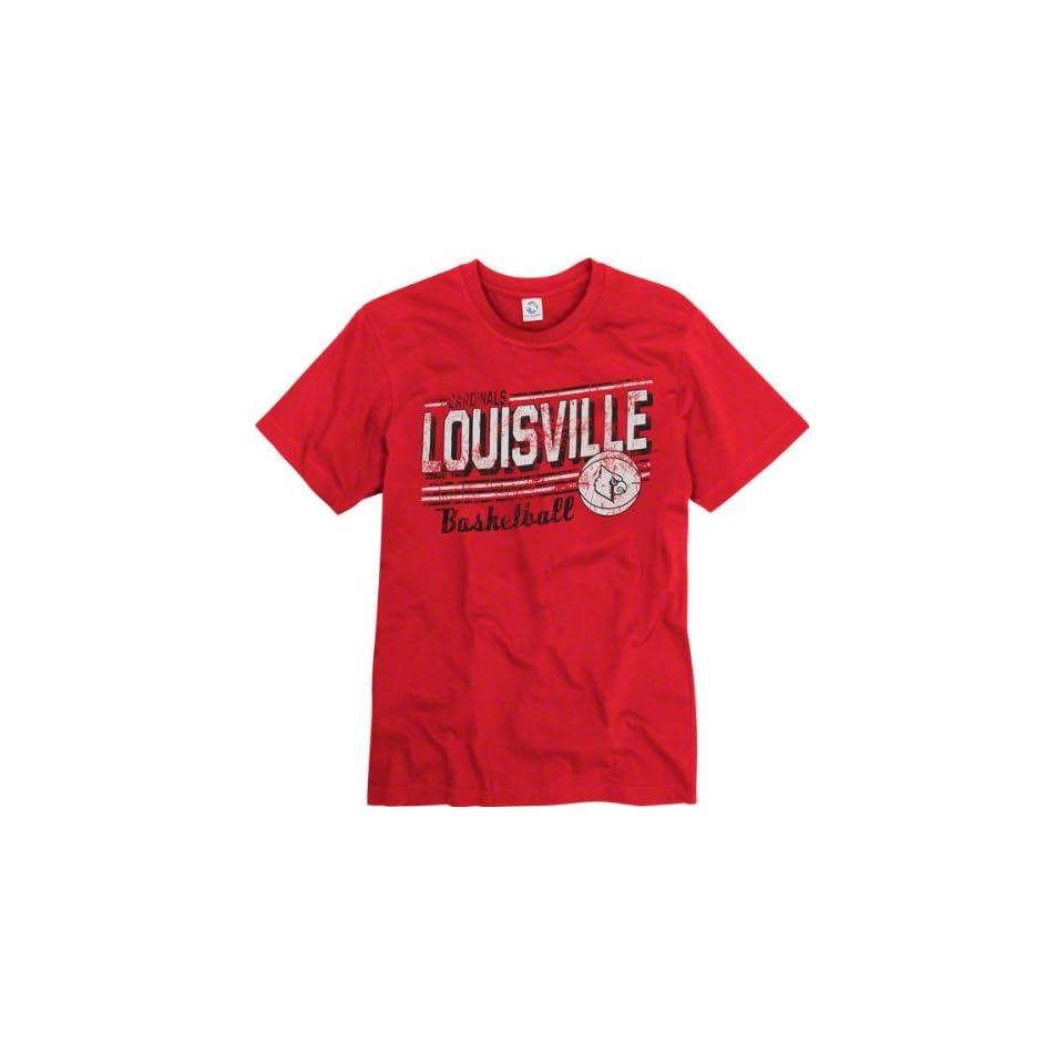 Louisville Cardinals Red Escalate Basketball Ring Spun T Shirt