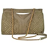 XMLiZhiGu Women Rivet Punk Style Clutch Chain Shoulder Bag
