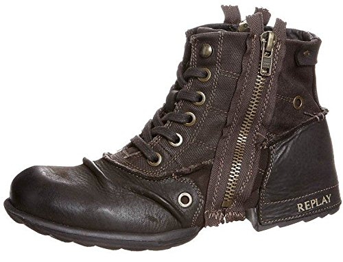 Replay Clutch Dark Brown Mens Side Zip Mid Ankle Leather Army Boots -11