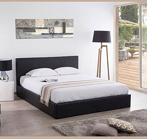 Muebles Bonitos - Cama con canapé de diseño magali en color negro-150x190cm