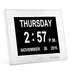 Svinz Memory Loss Day Clock Digital Calendar - Extra Large Non-Abbreviated Day & Month - Excellent for Impaired Vision SDC006 ( Silver And White )