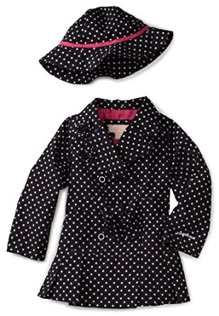 London Fog Girls 2-6X Printed Trench Coat, Dot Print, 6X