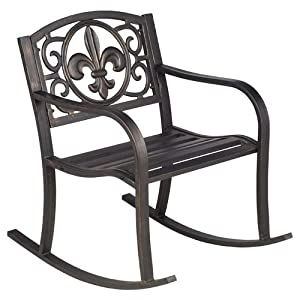 Mosaic Fleur-de-Lis Outdoor Rocking Chair