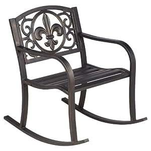 Steel Powder Coated Outdoor Fleur-de-Lis Patio Rocking Chair