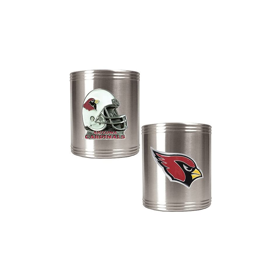 NFL Arizona Cardinals Two Piece Stainless Steel Can Holder Set   Primary & Helmet Logo  Sports Fan Cold Beverage Koozies  Sports & Outdoors