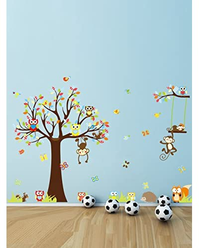 Ambiance Live Vinilo Decorativo Cute monkeys playing on trees Multicolor