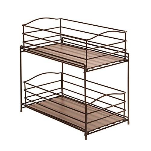 2 Tier Sliding Basket Kitchen Cabinet Organizer Countertop Storage Office Home Ebay