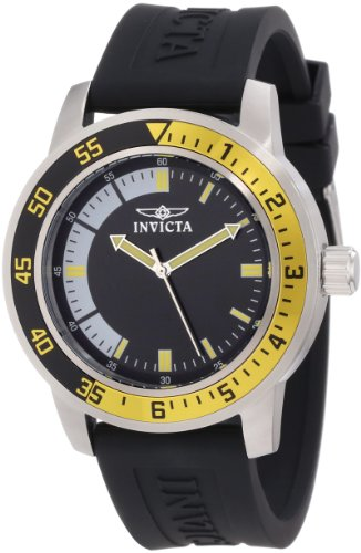 Invicta Men's 12846 Specialty Black Dial Watch with Yellow/Black Bezel