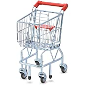 Sturdy Metal Shopping Cart Play Set With Wheels And Folding Seat