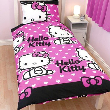 Girls Hello Kitty Quilt Duvet Cover Bedding Set twin bed