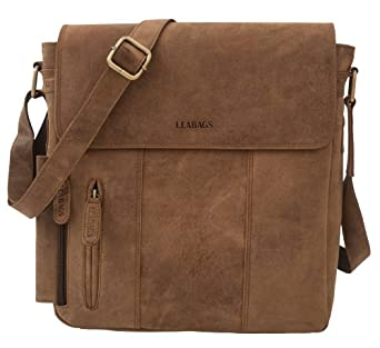 "LEABAGS - Unisex Leather Cross Body Shoulder Bag ""NEW YORK"" Vintage Style made of Genuine Buffalo Leather"