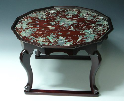 Mother Of Pearl Inlay Art Lacquer Finish Grape Vine Design Luxury Handmade Solid Thick Wood Round Sofa Coffee Asian Furniture Home Decor Table Tea Tray