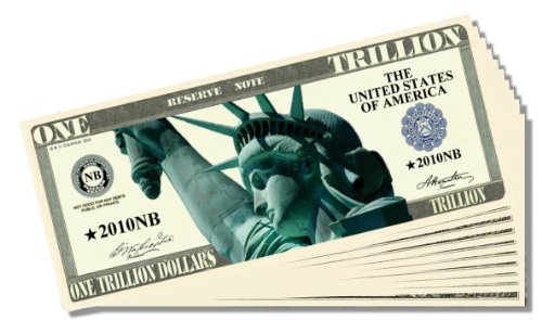 Liberty Trillion Dollar Novelty Bill - 10 Count with Bonus Clear Protector & Christopher Columbus Bill - 1
