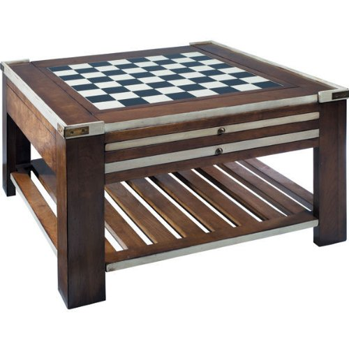 Game Table In Ivory - Multifunctional Table - Features 3 Double-Sided Game Boards - Solid Cherry And Combination Hardwood With Brass Accents - Authentic Models Mf005