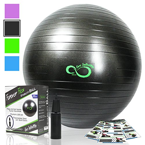 Exercise Ball -Professional Grade Anti Burst Tested with Hand Pump- Supports 2200lbs- Includes Workout Guide Access- 85cm Balance Balls