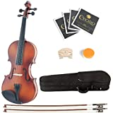 Mendini 1/32 MV300 Solid Wood Satin Antique Violin with Hard Case, 2-Bows, Rosin and Extra Strings