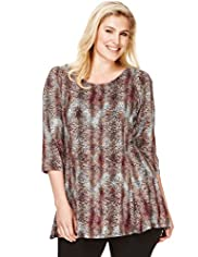 Plus 3/4 Sleeve Animal Print Flared Top