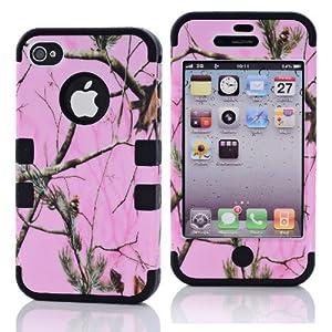 SHHR-HX4G40N Pink Pine Branch Design Hybrid case for Apple iPhone4 4s 4G - Black Color