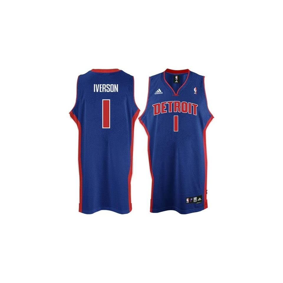 c541dee82fb Allen Iverson #1 Detroit Pistons Swingman NBA Jersey Blue Size M on ...