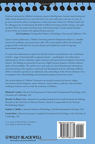 Children's Testimony: A Handbook of Psychological Research and Forensic Practice (Wiley Series in Psychology of Crime, Policing and Law)