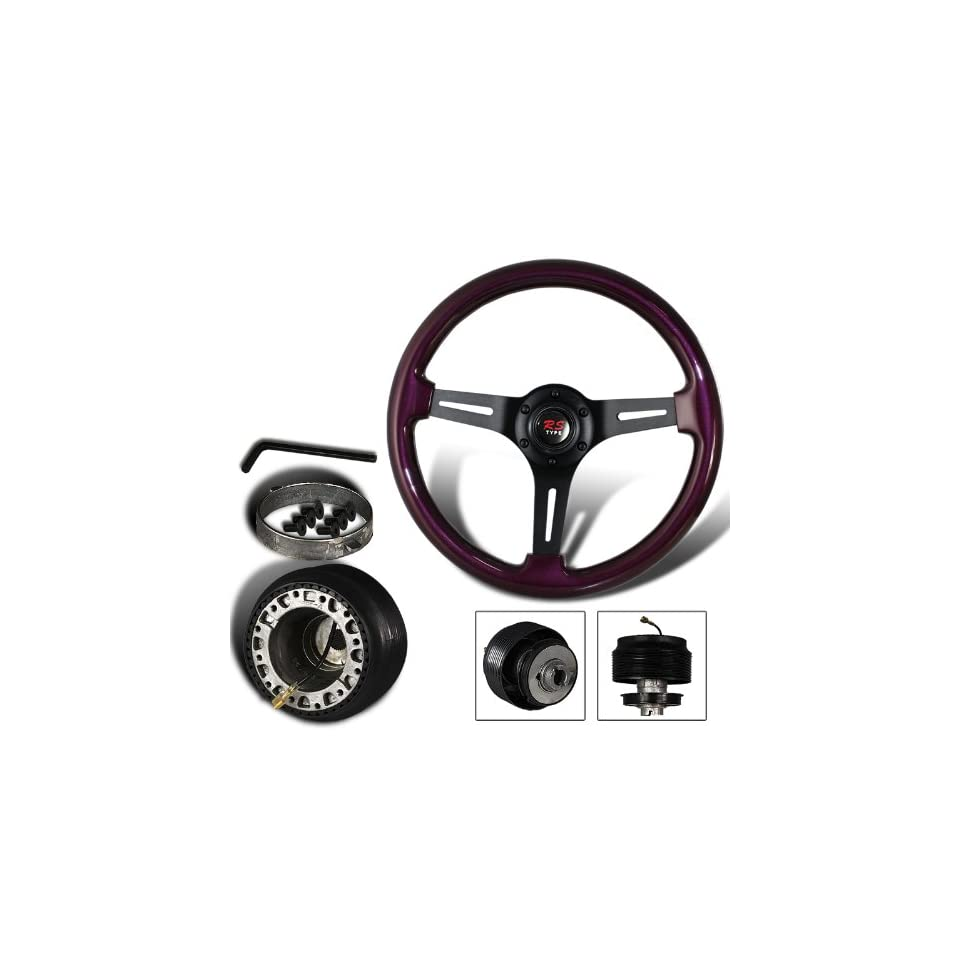 345mm 6 Hole Purple Wood Grain Style Deep Dish Steering Wheel + Nissan Hub Adapter