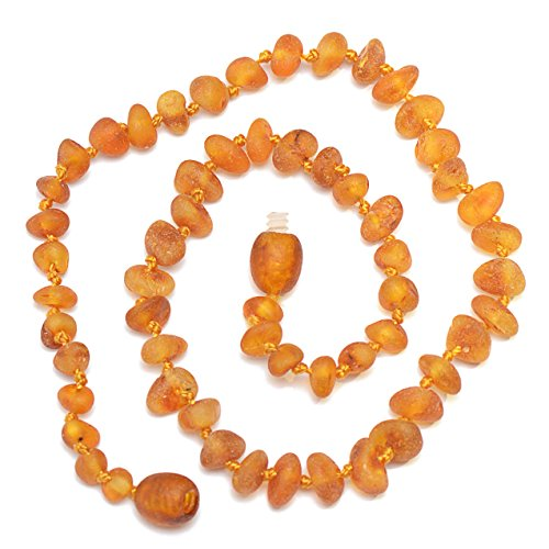 Hand Made Baltic Amber Teething Necklace for Babies - Safety Knotted - Not Polished