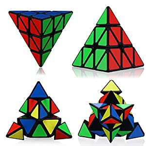 Dreampark Set of 2 Magic Speed Cube - Pyraminx & Megaminx Speed Cube Puzzle, Black - Perfect Gift Puzzle Box for Kids, teens, and adults.