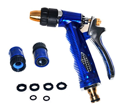 Garden Hose Nozzle, High Pressure, Heavy Duty Metal, Hand Sprayer with Washers and Quick Connectors. Suitable for Car & Pet Washing, Cleaning, Watering Lawn and Garden. Full Guarantee