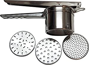 Gypsy's Kitchen Best Stainless Steel Potato Ricer. Professional Grade Culinary Accessory, Use as a Potato Masher, Juice Press, or Food Mill. 3 Inserts Ensure Versatility. Best Satisfaction Guarantee.
