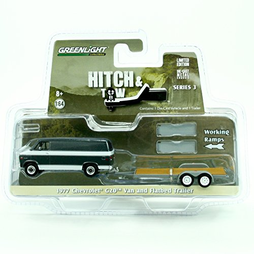 1977 CHEVROLET G20 VAN & FLATBED TRAILER * Hitch & Tow Series 3 * Greenlight Collectibles 2015 Truck & Trailer Limited Edition 1:64 Scale Die-Cast Vehicle Set (1 64 Enclosed Trailer compare prices)