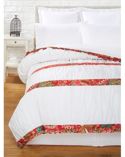 India Rose Kathryn Duvet Cover, White/Red, Queen As You See