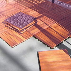 Amazon Com Interlocking Wood Deck Tile Fsc Eucalyptus 10