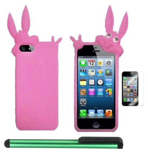 #1  Pink Rabbit Silicone Skin Premium Design Protector Soft Cover Case Compatible for Apple Iphone 5 (AT&T, VERIZON, SPRINT) + Screen Protector Film + Combination 1 of New Metal Stylus Touch Screen Pen (4
