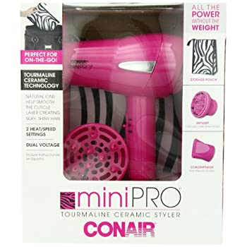 For salon results on the go, the Infiniti Mighty Mini Styler by Conair is the perfect solution.  With 1200 watts of power, 2 heat and s speed settings, it dries quickly, yet gently.  Tourmaline Ceramic technology leaves hair shiny and silky while the...