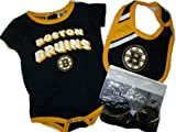 Boston Bruins GIRLS 3pc Creeper Onesie, Bib, Booties Set Black Set 0 - 3 Month Baby Infant at Amazon.com