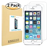 iPhone SE Screen Protector [2-Pack], PLESON iPhone SE Tempered Glass Screen Protector, [0.2mm][Updated Version] Case Friendly Bubble Free Screen Protector for iPhone SE/5/5S/5C