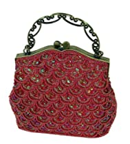 Beaded and Sequined Evening Handbag, Vintage-inspired Cluth W/chain, Elegant and Unique ! (Burgundy)