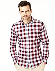 Autograph Pure Cotton Slim Fit Bold Gingham Checked Shirt