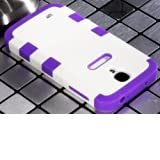 "myLife Purple - White Flat Color Design (3 Piece Hybrid) Hard and Soft Case for the Samsung Galaxy S4 ""Fits Models... by myLife Brand Products"