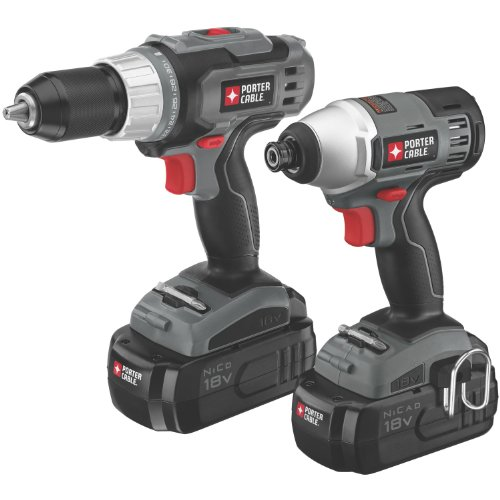 New PORTER-CABLE PC218IDC-2 18-Volt NiCd Drill/Impact Driver 2-Tool Kit