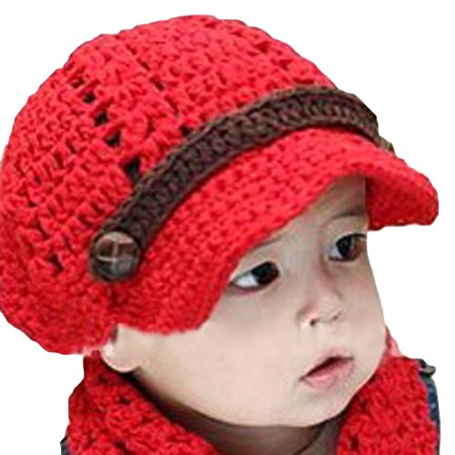 Locomo Baby Infant Knit Crochet Rib Beanie Brim Hat Cap Fba007Red Red front-50424