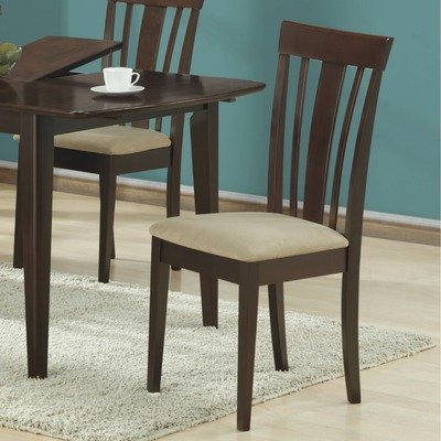 Monarch Specialties High Side Chairs with Micro-Fiber, 38-Inch, Cappuccino, Set of 2