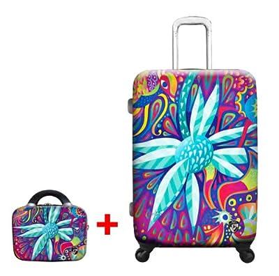 Heys USA - 2pcs. - SET 50 GBP Discount - Limon Agave Sunshine, High-quality designer artist luggage set - 76 cm 4-wheels Trolley and Beauty Case from Heys USA