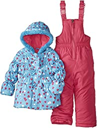 Pink Platinum Baby Girls\' All Over Heart Snowsuit, Turquiose, 24 Months