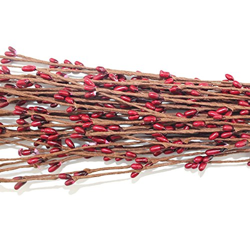 100pcs 19 Colors 40cm Pretty Pip Berry Stem for Floral Bracelet Wreath Wedding diy Wreath or Home Decoration(red)