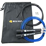 WOD Nation Speed Jump Rope - Best Exercise Speed Ropes for Cross Fittness Training, Boxing Endurance Training - Must Have Workout Equipment in Every Gym Bag for Men, Women, Boys & Girls - Fully Adjustable for Adult or Children Size