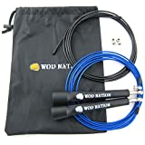 WOD Nation Speed Jump Rope - Blazing Fast Rope for Endurance training for Sports like Cross Fitness, Boxing, MMA, Martial Arts or Just Staying Fit - Fully Adjustable to Fit Men, Women and Children - BLACK