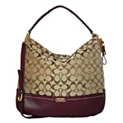Coach 23279 Khaki & Burgundy Park Signature Hobo Shoulder Bag