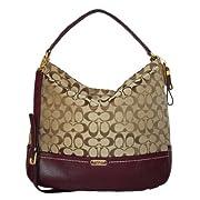 Coach 23279 Khaki & Burgundy Park Signature Hobo Shoulder Bag