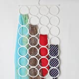 IMAGE® 28 Holes Ring Rope Multifunctional Clothes/ Tie / Belt / Scarf Hanger Organizer Holder Rack Space Saving White